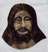 Old Hand Painted Jesus Face Stained Glass Church Windows Sun-Catcher 50-60's