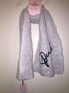 """JUICY COUTURE Women's Textured Embroidered Muffler Scarf """"SIMPLY WHITE"""" NEW TAGS"""