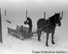 Farmer with Milk Cans, Horse-drawn Sled, Barre, Vermont - Historic Photo Print