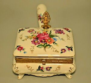 Antique Hand Painted Porcelain Bronze Dore Warmer Serving Dish Box Plate Compote