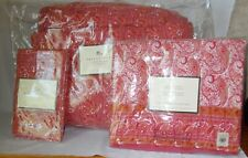 Pottery Barn AVA Red Pink Paisley 3-pc Quilt Sham Bolster Cover *2 AVAILABLE