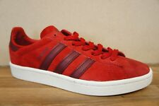 Adidas Campus Mens Size 7 UK Red White Suede Leather Trainers BNWB NEW