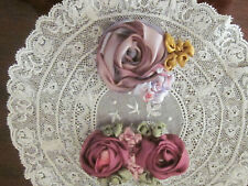 Vintage Set Of 2 Silk Ribbon Work Roses Plum W/Green+ Orchid Roses French Dolls