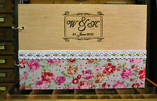 engraved A4 wood wedding guest book or photo album with fabric and cotton lace