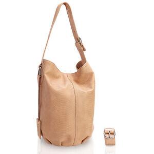 New Lusso Genuine Italian Vintage Leather Handbag Creamy Golden Tan Python