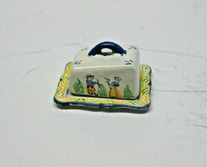 Dollhouse Miniature Hand Painted Quimper Cheese Dish from England