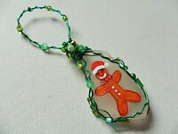 gingerbread man - Hand painted crafted sea glass Christmas tree decoration