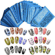 48 Sheets Lace Flowers Nail Art Water Transfer Decals Stickers Black/White Decor