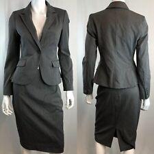 $229 Express Womens 4 Gray Stretchy 1 button Blazer Pencil Skirt Blazer Suit