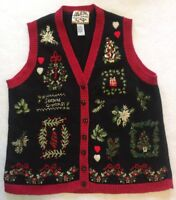 Ugly Christmas L Sweater Vest Red Black Womens Wreath Sequin Beaded Buttons