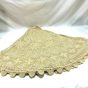 Crochet Chic Ivory Lined Christmas Tree Skirt Cottage Poinsettia