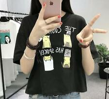 Korean Fashion Girl Summer Cute 4 cats Printed Loose Blouse Short Tops T -Shirt