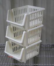 VEGETABLE FRUIT STORAGE KITCHEN STACKING STACKABLE BASKET RACK - 3 Tiers Cream