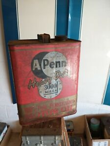 RARE APenn a Penn MOTOR OIL 2 GALLON CAN PENN OIL CO NR vintage