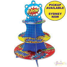 SUPERHERO PARTY SUPPLIES CUPCAKE STAND BIRTHDAY CAKE HOLDER BATMAN AVENGERS