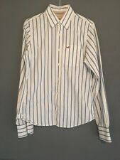 SIZE M HOLLISTER WHITE/BLUE/BLACK STRIPE SHIRT SUMMER/CASUAL/SPORT/FOOTBALL/GYM