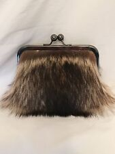 Genuine Raccoon Fur Clutch Purse