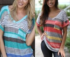 Cotton Blend Short Sleeve Machine Washable Striped Tops & Blouses for Women