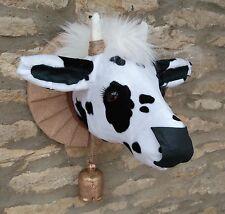 Handmade Friesian milk cow head faux taxidermy black & white wall mounted trophy