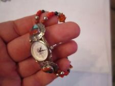 """STERLING SILVER AND WATCH AND GEM STONE BRACELET - INLAY & BEADS - 7"""" - BOX SC-4"""