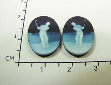 """Onyx Gemmen Paar """" Golfer """" - Oval in spezifizierter Box - 18 x 13 mm ( beh.)"""