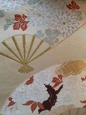 Fine Japanese Vintage kimono tissu de soie, les fans. vert pâle/Multi. Couture/Artisanat