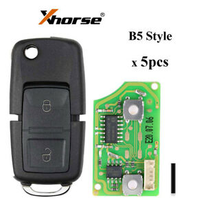 5Pcs XHORSE Wire Universal Remote Key B5 Style 2 Buttons XKB508EN for VVDI/VVDI2