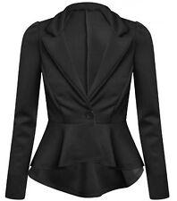 Womens Ladies Crop Frill Slim Fit Fitted Peplum Blazer Jacket Coat UK 4-22 ScbJk