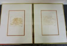 pair of 2 rare Artistide Maillot Woodcuts Geargiques Framed 1 COA Listed Artist