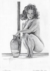 original drawing А3 345KO art samovar Modern Graphite female nude with a jug