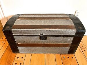 Antique Dome Top Steamer Trunk pressed Tin