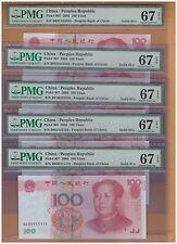 All Pmg67Epq 2005 China $ 100 Yuan 10 pc Solid B_ 111111 - 999999 000000 888888
