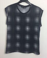 Topshop Petite Grey Sheer Sleeveless Check Top Size 8 - Black, Grunge, Goth (B14