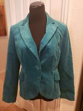 Size 6 Nine West Faux Velvet Turquoise Blazer Jacket