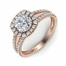 1.25ct VS - F Moissanite With Natural Diamond Halo Engagement Ring  in Gold