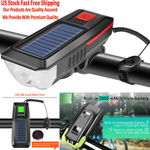 Bicycle Headlight Rearlight USB Rechargeable Bike LED Light Lamp with Horn