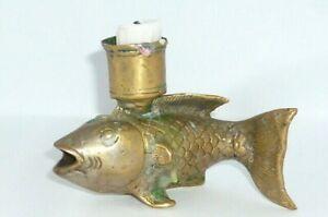 Alter Fisch Kerzenleuchter Messing ? Leuchter Kerzenhalter Fischleuchter Fische
