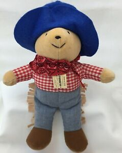 "Paddington Bear Cowboy Red Plaid Shirt Blue Hat Eden Plush 12"" Lovey Toy"