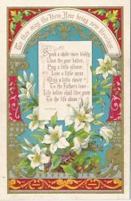 1886 Victorian New Year Card, Easter Lilies, Wonderful Condition.