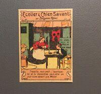 Écolier & Chien savant par Benjamin Rabier. Publicité Pharmacie Bouchard.