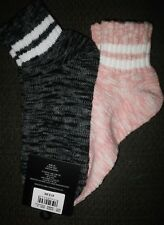 2 x Jay Jays Women Ankle Socks 4 - 9 Dusty Pink & Black Woven Cotton Bamboo