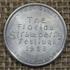 1986 The Florida Strawberry Festival .999 Fine Silver 1/4 Troy Ounce