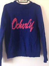 Women Lady Girls Royal Blue Winter Autumn Crochet Knit Tops Jumper Knitwear