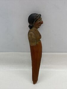"""Antique Old Carved Woman Head Letter Opener German 5"""" Long"""