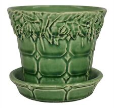 McCoy Pottery Decorative High Glaze Green Flower Pot With Attached Saucer