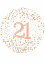 Happy 21st Birthday 18inch Sparkling Fizz Foil Balloon Rose Gold *made in Uk*