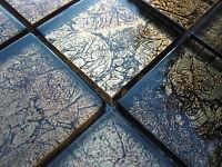 Glass mosaic effect Tiles clear Metal black gold 8mm bath