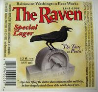 Raven Special Lager 12oz Beer LABEL Bird, Baltimore-Washington B-Works, MARYLAND