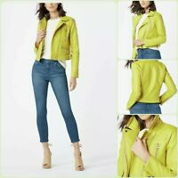 New Lovely Womens Lemon - Lime Yellow Short Faux Leather Moto Style L