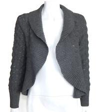 SAKS FIFTH AVENUE 100% Cashmere Woven Design Open Cardigan Sweater sz S /8106